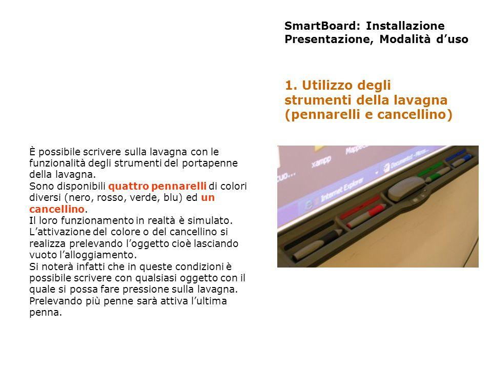 SmartBoard: Installazione Presentazione, Modalità duso Il tasto destro si attiva premendo lapposito tasto del portapenne e si disattiva automaticamente dopo il primo tocco.