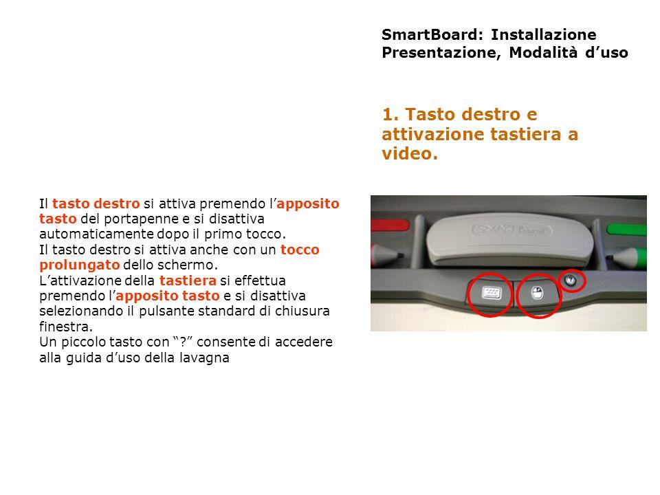SmartBoard: Installazione Presentazione, Modalità duso Il tasto destro si attiva premendo lapposito tasto del portapenne e si disattiva automaticament