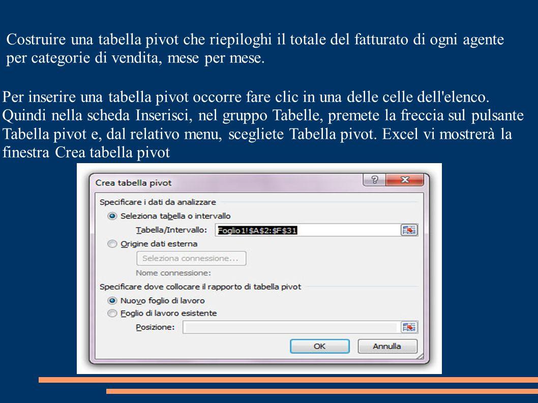 La finestra chiede di specificare quali sono i dati origine: in questo caso scegliamo Seleziona tabella o intervallo.