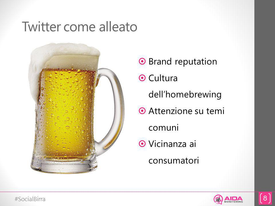 #SocialBirra Twitter come alleato 8 Brand reputation Cultura dellhomebrewing Attenzione su temi comuni Vicinanza ai consumatori