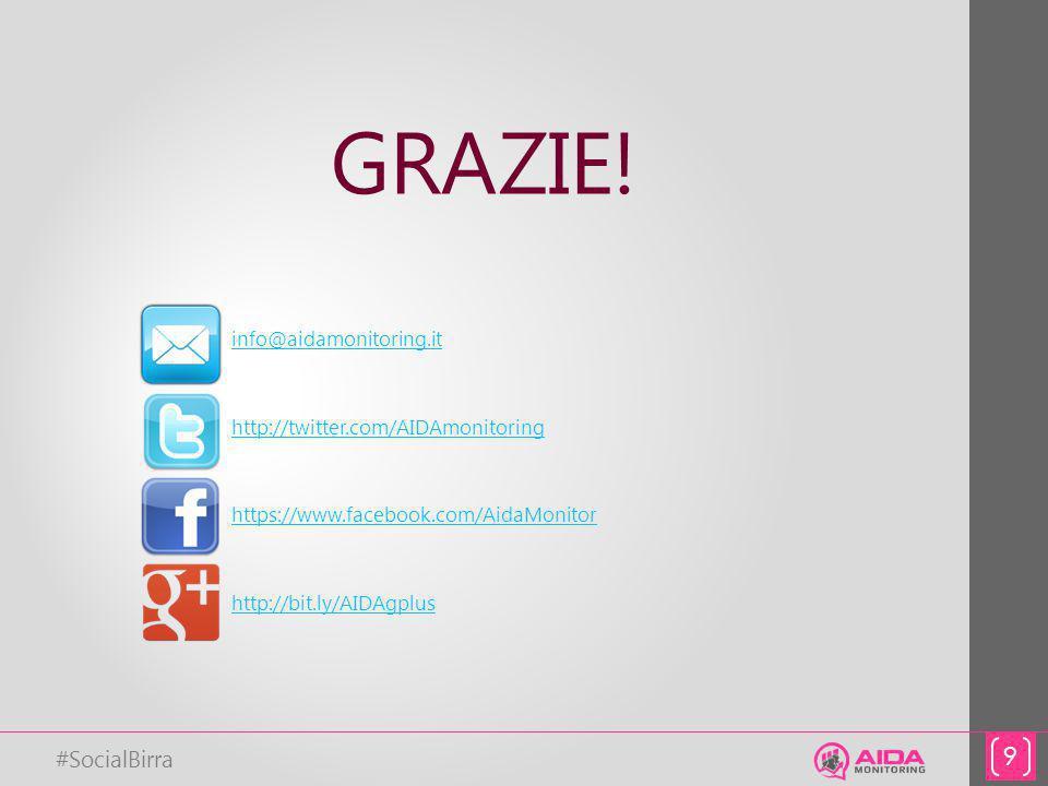 #SocialBirra 9 info@aidamonitoring.it http://twitter.com/AIDAmonitoring https://www.facebook.com/AidaMonitor http://bit.ly/AIDAgplus GRAZIE!