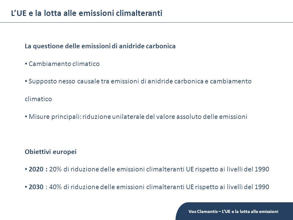 LUE e la lotta alle emissioni climalteranti La questione delle emissioni di anidride carbonica Cambiamento climatico Supposto nesso causale tra emissioni di anidride carbonica e cambiamento climatico Misure principali: riduzione unilaterale del valore assoluto delle emissioni Obiettivi europei 2020 : 20% di riduzione delle emissioni climalteranti UE rispetto ai livelli del 1990 2030 : 40% di riduzione delle emissioni climalteranti UE rispetto ai livelli del 1990 Vox Clamantis – LUE e la lotta alle emissioni