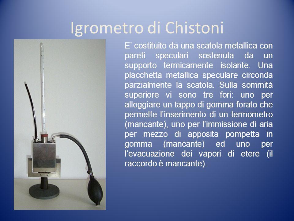 Igrometro di Chistoni E costituito da una scatola metallica con pareti speculari sostenuta da un supporto termicamente isolante.