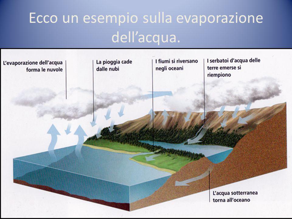 Ecco un esempio sulla evaporazione dellacqua.