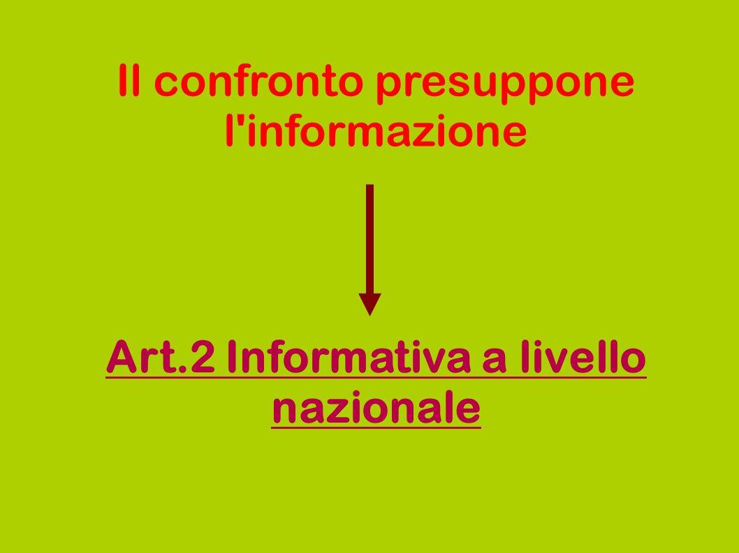 Il confronto presuppone l'informazione Art.2 Informativa a livello nazionale