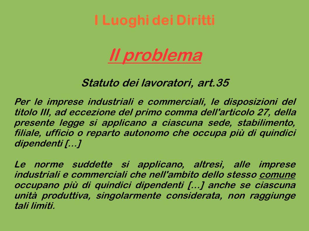La soluzione: l Unica Unità Produttiva Un estensione convenzionale del secondo comma dell art.35 Stat.lav.