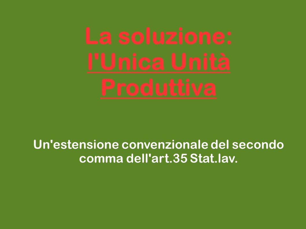 La soluzione: l'Unica Unità Produttiva Un'estensione convenzionale del secondo comma dell'art.35 Stat.lav.