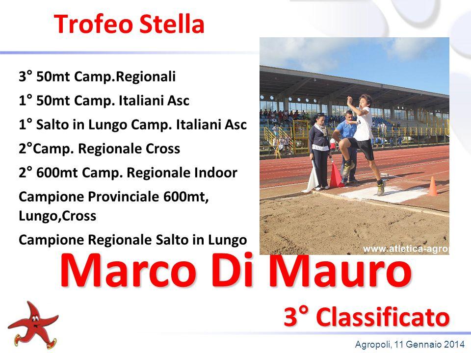 Agropoli, 11 Gennaio 2014 Trofeo Stella 3° Classificato 3° 50mt Camp.Regionali 1° 50mt Camp. Italiani Asc 1° Salto in Lungo Camp. Italiani Asc 2°Camp.