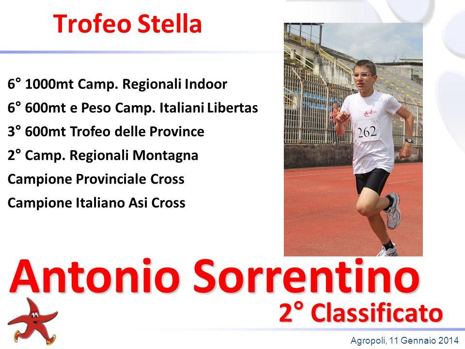 Agropoli, 11 Gennaio 2014 Trofeo Stella 2° Classificato 6° 1000mt Camp. Regionali Indoor 6° 600mt e Peso Camp. Italiani Libertas 3° 600mt Trofeo delle