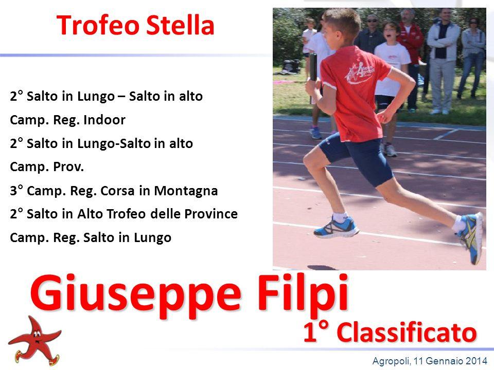 Agropoli, 11 Gennaio 2014 Trofeo Stella 1° Classificato 2° Salto in Lungo – Salto in alto Camp. Reg. Indoor 2° Salto in Lungo-Salto in alto Camp. Prov