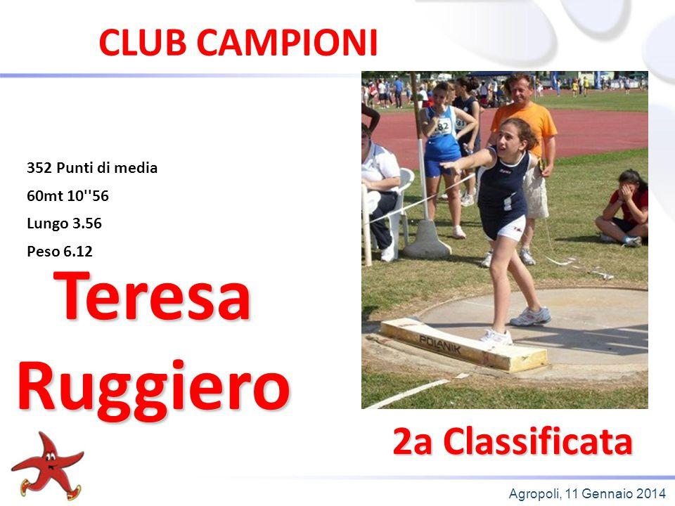 Agropoli, 11 Gennaio 2014 2a Classificata Teresa Ruggiero CLUB CAMPIONI 352 Punti di media 60mt 10''56 Lungo 3.56 Peso 6.12