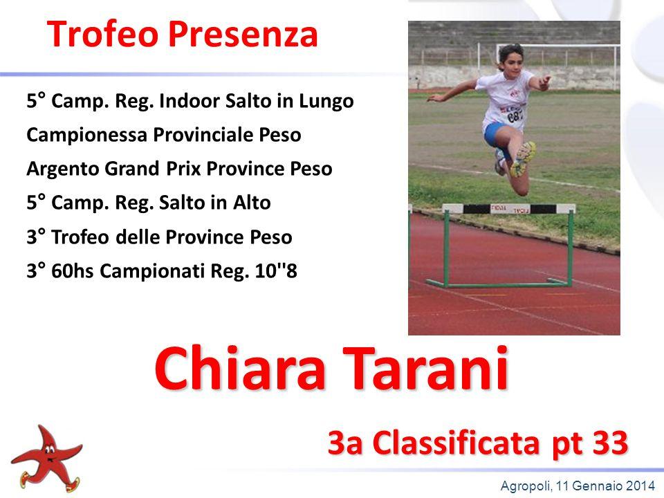 Agropoli, 11 Gennaio 2014 Trofeo Presenza 3a Classificata pt 33 5° Camp. Reg. Indoor Salto in Lungo Campionessa Provinciale Peso Argento Grand Prix Pr