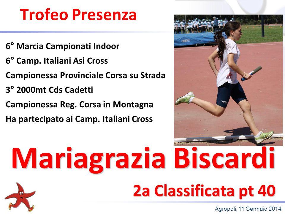 Agropoli, 11 Gennaio 2014 Trofeo Presenza 2a Classificata pt 40 6° Marcia Campionati Indoor 6° Camp. Italiani Asi Cross Campionessa Provinciale Corsa