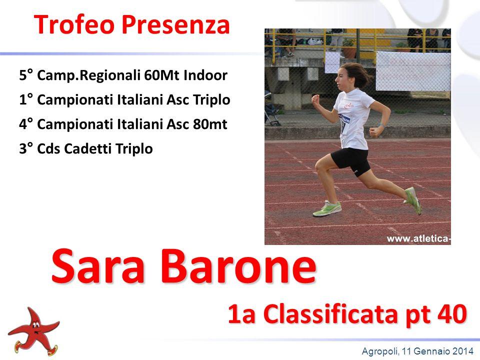 Agropoli, 11 Gennaio 2014 Trofeo Presenza 1a Classificata pt 40 5° Camp.Regionali 60Mt Indoor 1° Campionati Italiani Asc Triplo 4° Campionati Italiani