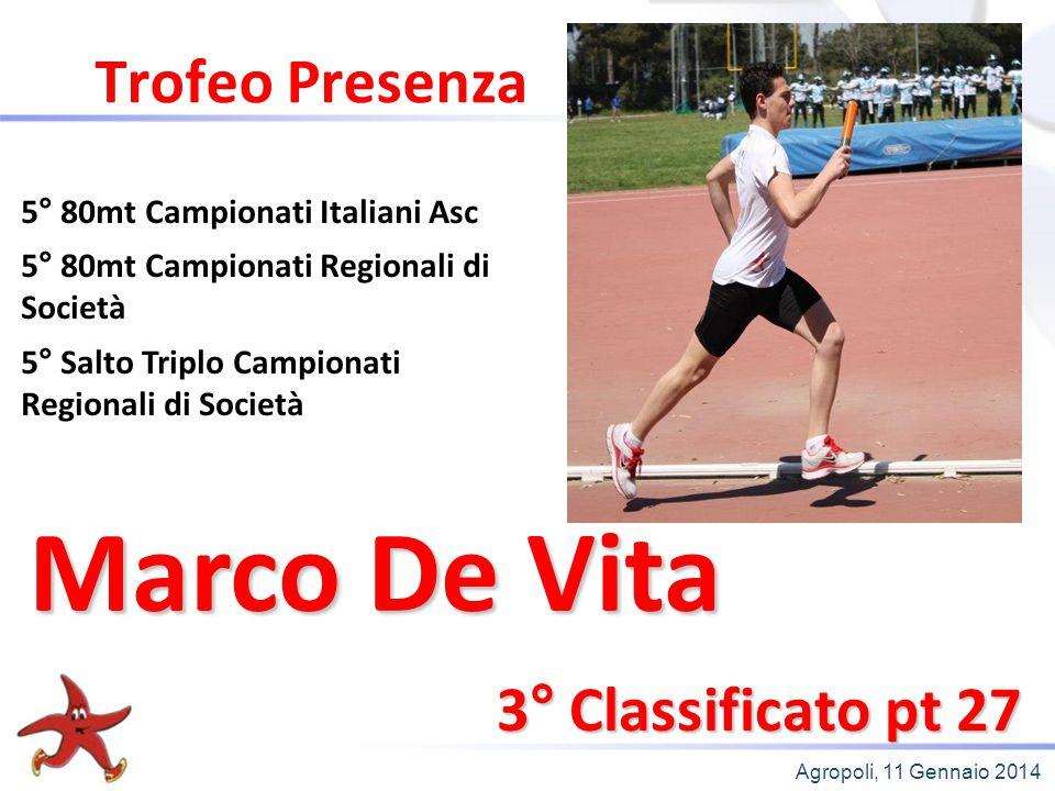 Agropoli, 11 Gennaio 2014 Trofeo Presenza 3° Classificato pt 27 5° 80mt Campionati Italiani Asc 5° 80mt Campionati Regionali di Società 5° Salto Tripl