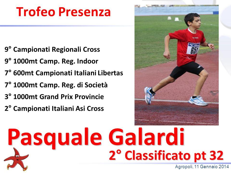Agropoli, 11 Gennaio 2014 Trofeo Presenza 2° Classificato pt 32 9° Campionati Regionali Cross 9° 1000mt Camp. Reg. Indoor 7° 600mt Campionati Italiani