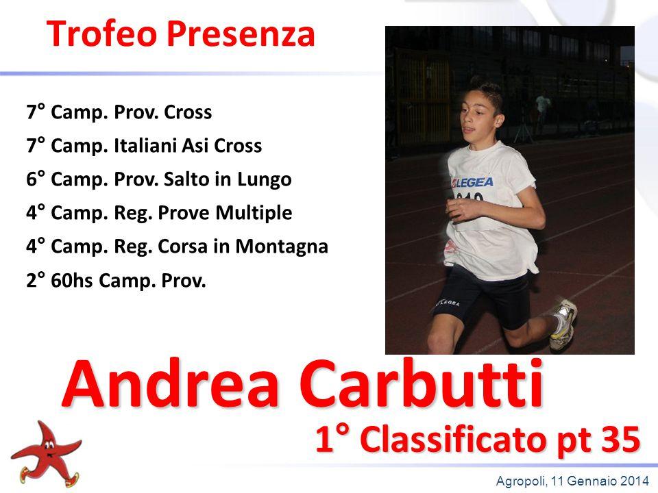 Agropoli, 11 Gennaio 2014 Trofeo Presenza 1° Classificato pt 35 7° Camp. Prov. Cross 7° Camp. Italiani Asi Cross 6° Camp. Prov. Salto in Lungo 4° Camp