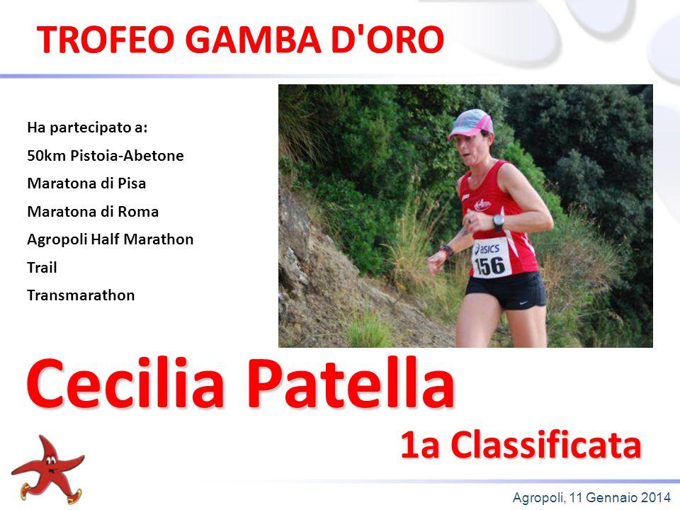 Agropoli, 11 Gennaio 2014 1a Classificata Ha partecipato a: 50km Pistoia-Abetone Maratona di Pisa Maratona di Roma Agropoli Half Marathon Trail Transm