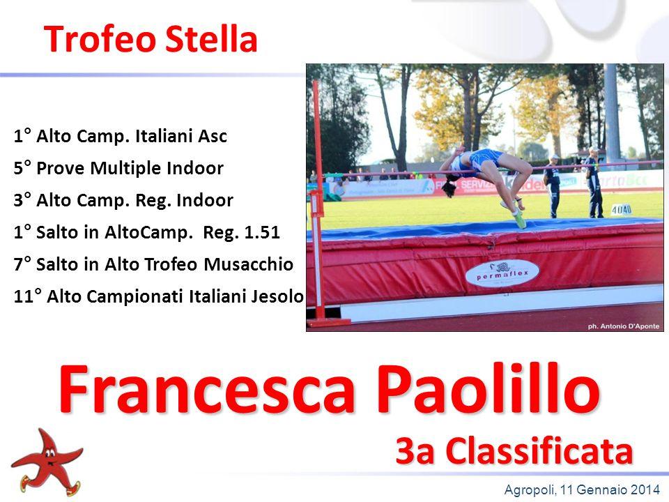 Agropoli, 11 Gennaio 2014 Trofeo Stella 2a Classificata 3° 60mt Campionati Italiani Asc 2° 60mt Trofeo delle Province 2° 60mt Campionati Provinciali Campionessa Provinciale Salto in Alto Alice Corrado