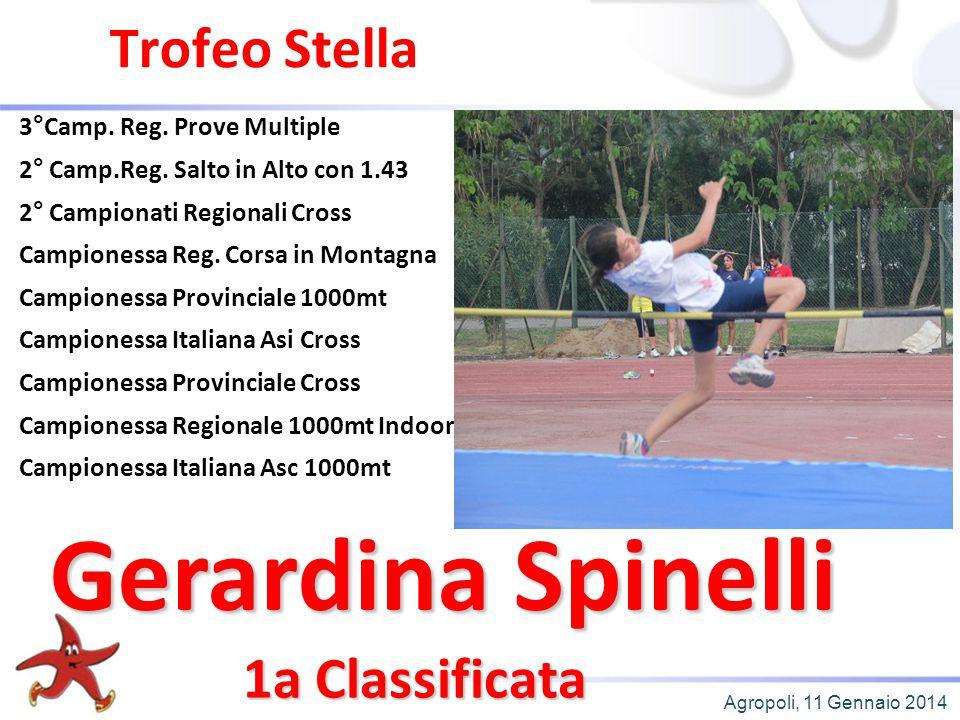 Agropoli, 11 Gennaio 2014 Trofeo Stella 1a Classificata 3°Camp. Reg. Prove Multiple 2° Camp.Reg. Salto in Alto con 1.43 2° Campionati Regionali Cross