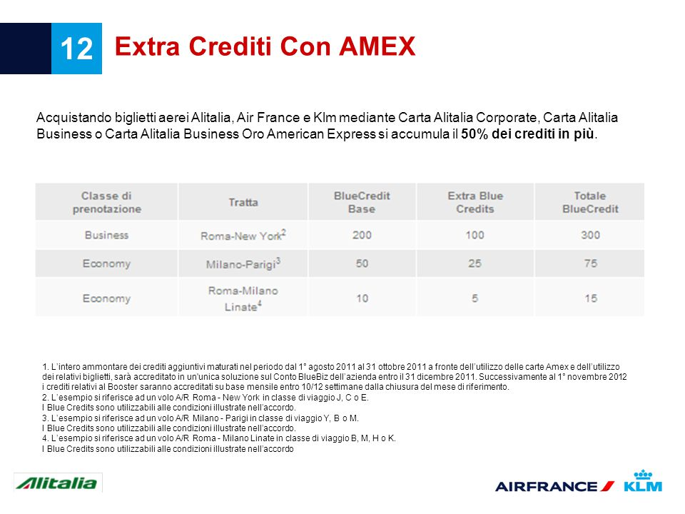 12 Extra Crediti Con AMEX Acquistando biglietti aerei Alitalia, Air France e Klm mediante Carta Alitalia Corporate, Carta Alitalia Business o Carta Alitalia Business Oro American Express si accumula il 50% dei crediti in più.