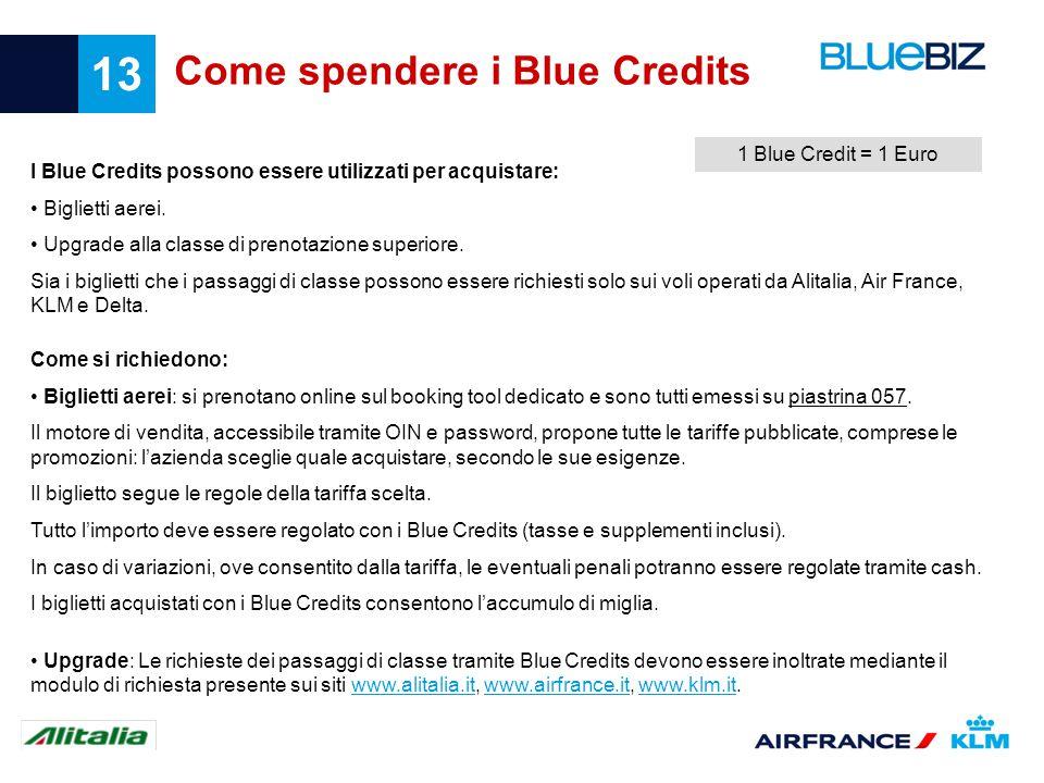 13 Come spendere i Blue Credits I Blue Credits possono essere utilizzati per acquistare: Biglietti aerei. Upgrade alla classe di prenotazione superior