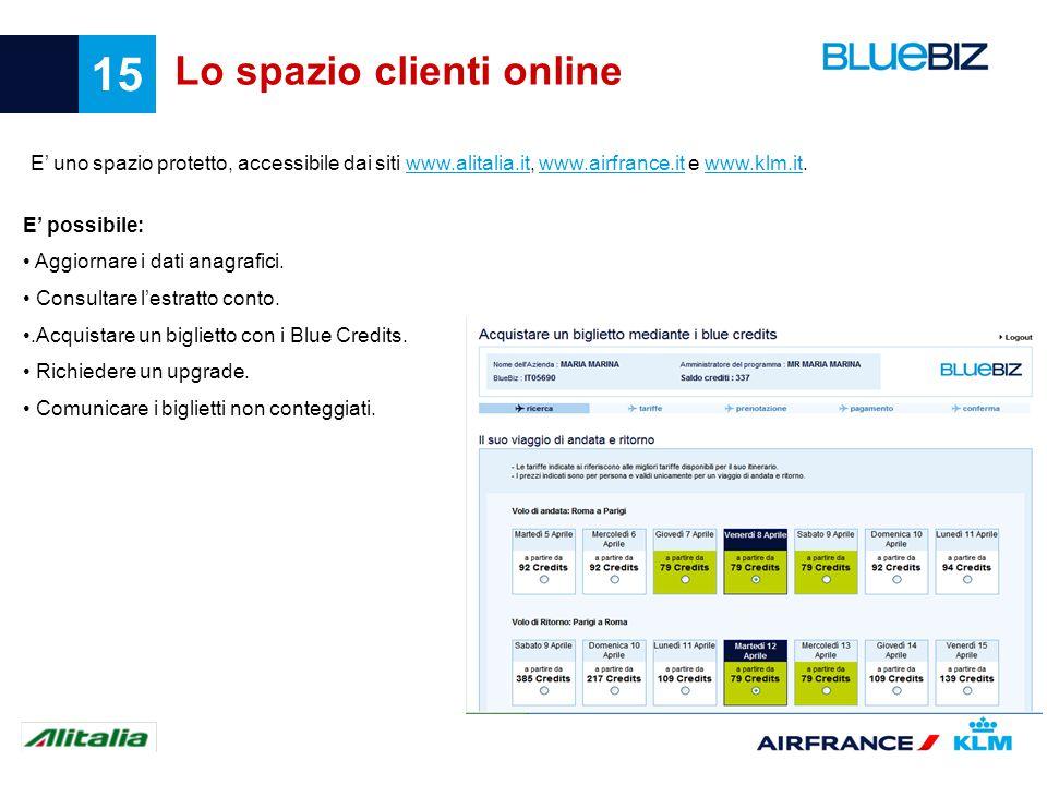 15 Lo spazio clienti online E uno spazio protetto, accessibile dai siti www.alitalia.it, www.airfrance.it e www.klm.it.www.alitalia.itwww.airfrance.it