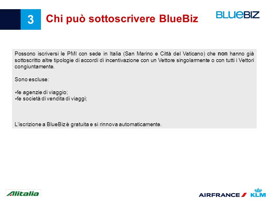 3 Chi può sottoscrivere BlueBiz Possono iscriversi le PMI con sede in Italia (San Marino e Città del Vaticano) che non hanno già sottoscritto altre ti