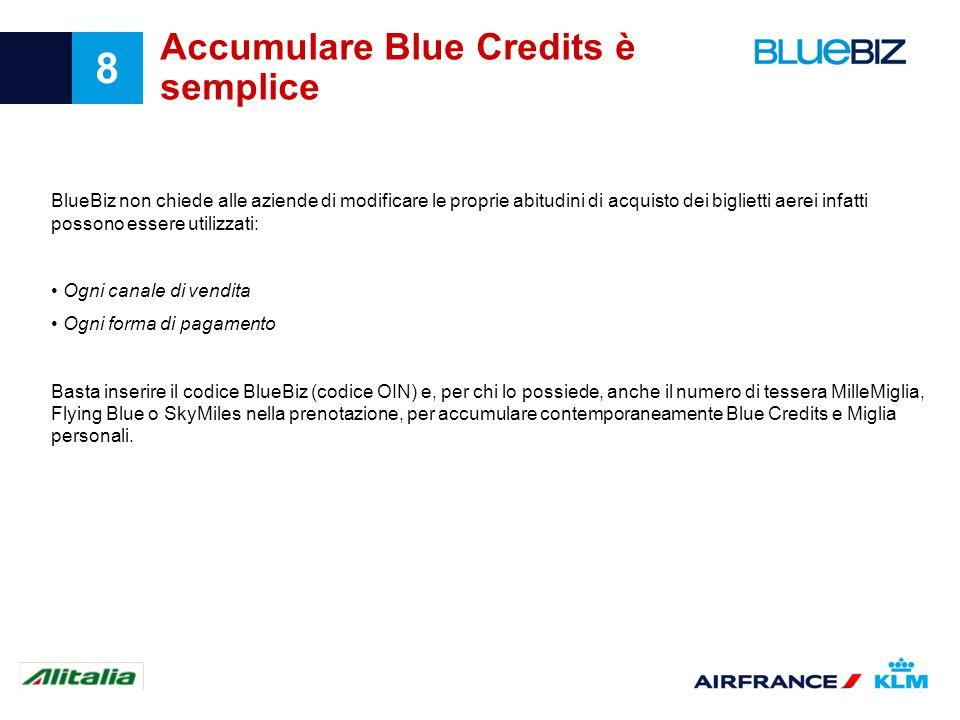 8 Accumulare Blue Credits è semplice BlueBiz non chiede alle aziende di modificare le proprie abitudini di acquisto dei biglietti aerei infatti posson