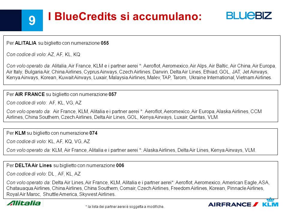 9 I BlueCredits si accumulano: Per AIR FRANCE su biglietto con numerazione 057 Con codice di volo: AF, KL, VG, AZ Con volo operato da: Air France, KLM