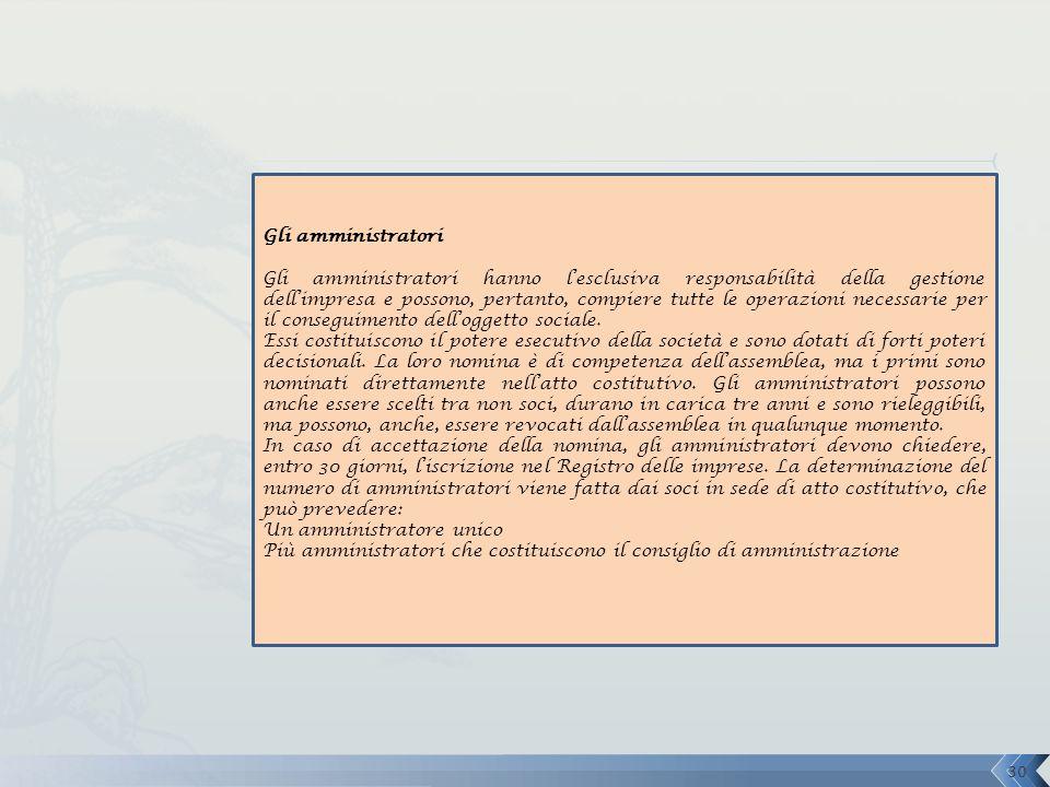 Gli amministratori Gli amministratori hanno l'esclusiva responsabilità della gestione dell'impresa e possono, pertanto, compiere tutte le operazioni n