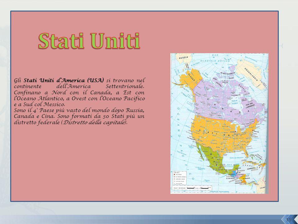 Gli Stati Uniti d'America (USA) si trovano nel continente dell'America Settentrionale. Confinano a Nord con il Canada, a Est con l'Oceano Atlantico, a