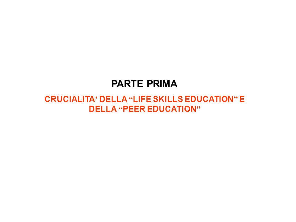 """PARTE PRIMA CRUCIALITA ' DELLA """" LIFE SKILLS EDUCATION """" E DELLA """" PEER EDUCATION """""""