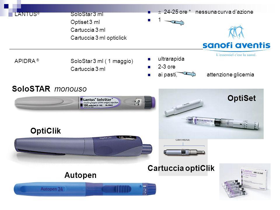 LANTUS ® SoloStar 3 ml Optiset 3 ml Cartuccia 3 ml Cartuccia 3 ml opticlick APIDRA ® SoloStar 3 ml ( 1 maggio) Cartuccia 3 ml   24-25 ore * nessuna