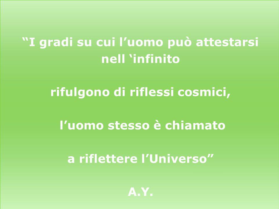 """""""I gradi su cui l'uomo può attestarsi nell 'infinito rifulgono di riflessi cosmici, l'uomo stesso è chiamato a riflettere l'Universo"""" A.Y."""