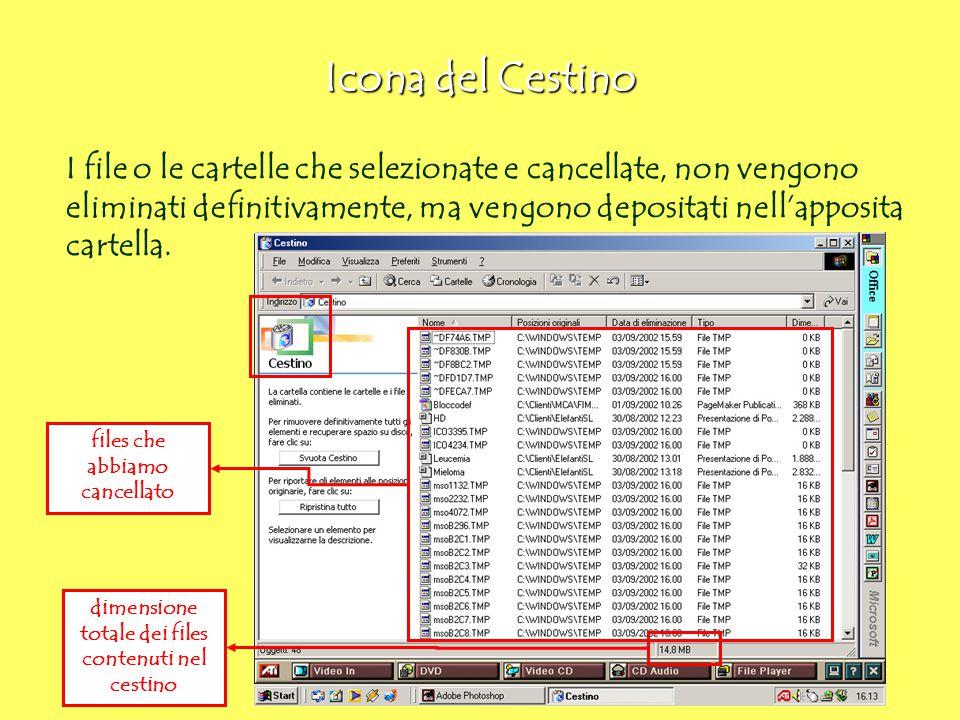 Icona del Cestino I file o le cartelle che selezionate e cancellate, non vengono eliminati definitivamente, ma vengono depositati nell'apposita cartel