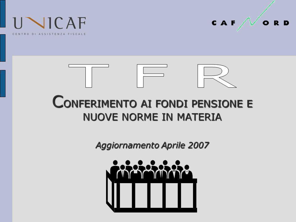 C ONFERIMENTO AI FONDI PENSIONE E NUOVE NORME IN MATERIA Aggiornamento Aprile 2007