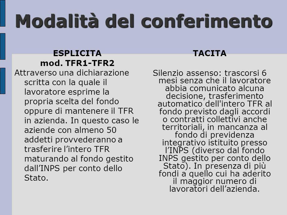 Modalità del conferimento ESPLICITA mod. TFR1-TFR2 Attraverso una dichiarazione scritta con la quale il lavoratore esprime la propria scelta del fondo
