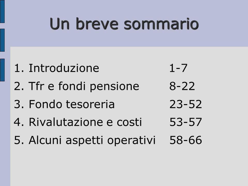 Un breve sommario 1. Introduzione 1-7 2. Tfr e fondi pensione8-22 3. Fondo tesoreria23-52 4. Rivalutazione e costi53-57 5. Alcuni aspetti operativi58-