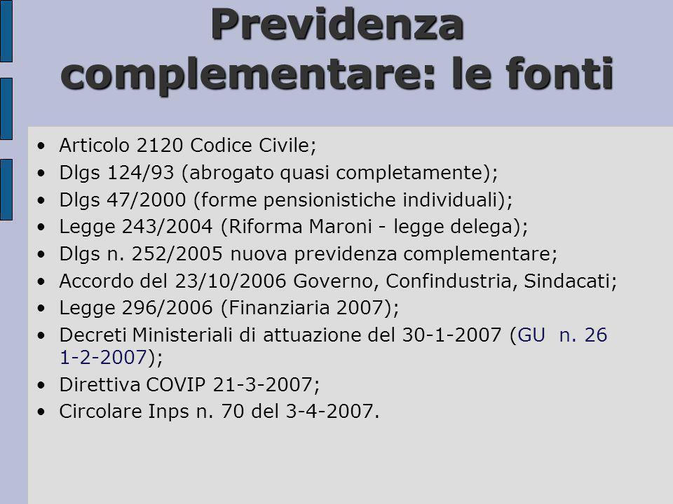 Previdenza complementare: le fonti •Articolo 2120 Codice Civile; •Dlgs 124/93 (abrogato quasi completamente); •Dlgs 47/2000 (forme pensionistiche indi