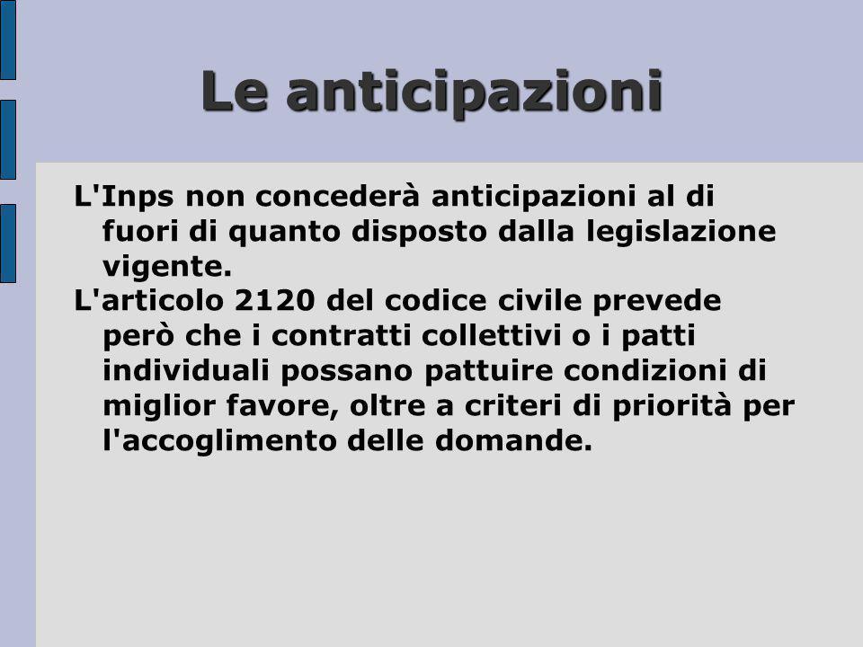 Le anticipazioni L'Inps non concederà anticipazioni al di fuori di quanto disposto dalla legislazione vigente. L'articolo 2120 del codice civile preve