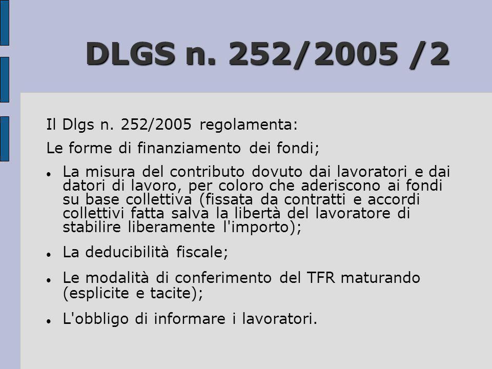 DLGS n. 252/2005 /2 DLGS n. 252/2005 /2 Il Dlgs n. 252/2005 regolamenta: Le forme di finanziamento dei fondi;  La misura del contributo dovuto dai la
