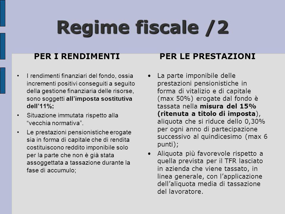 Regime fiscale /2 PER I RENDIMENTI •I rendimenti finanziari del fondo, ossia incrementi positivi conseguiti a seguito della gestione finanziaria delle