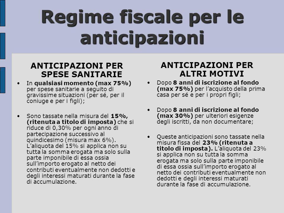 Regime fiscale per le anticipazioni ANTICIPAZIONI PER SPESE SANITARIE •In qualsiasi momento (max 75%) per spese sanitarie a seguito di gravissime situ