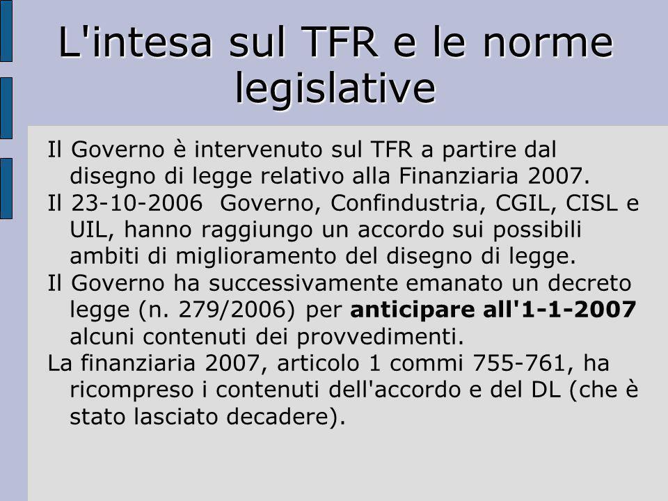 L'intesa sul TFR e le norme legislative Il Governo è intervenuto sul TFR a partire dal disegno di legge relativo alla Finanziaria 2007. Il 23-10-2006