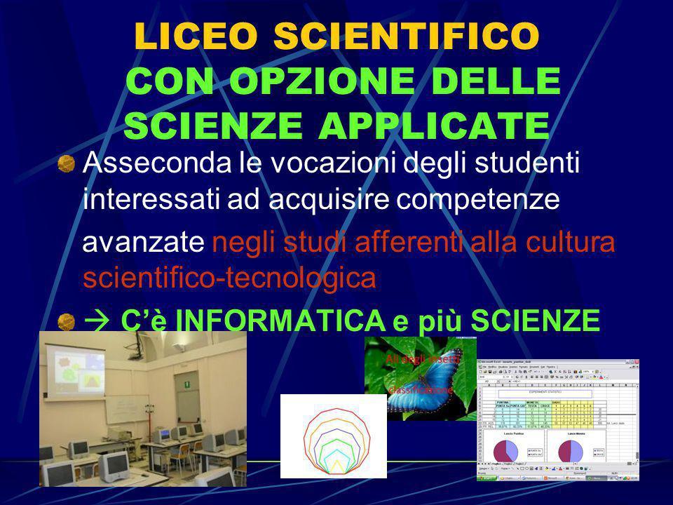 LICEO SCIENTIFICO CON OPZIONE DELLE SCIENZE APPLICATE Asseconda le vocazioni degli studenti interessati ad acquisire competenze avanzate negli studi a