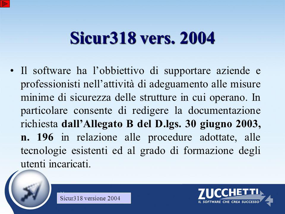 Sicur318 versione 2004 •Il software ha l'obbiettivo di supportare aziende e professionisti nell'attività di adeguamento alle misure minime di sicurezza delle strutture in cui operano.