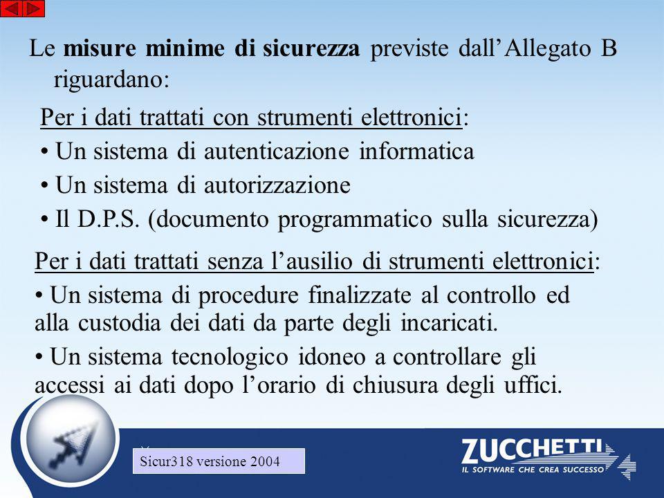 Sicur318 versione 2004 Le misure minime di sicurezza previste dall'Allegato B riguardano: Per i dati trattati con strumenti elettronici: • Un sistema