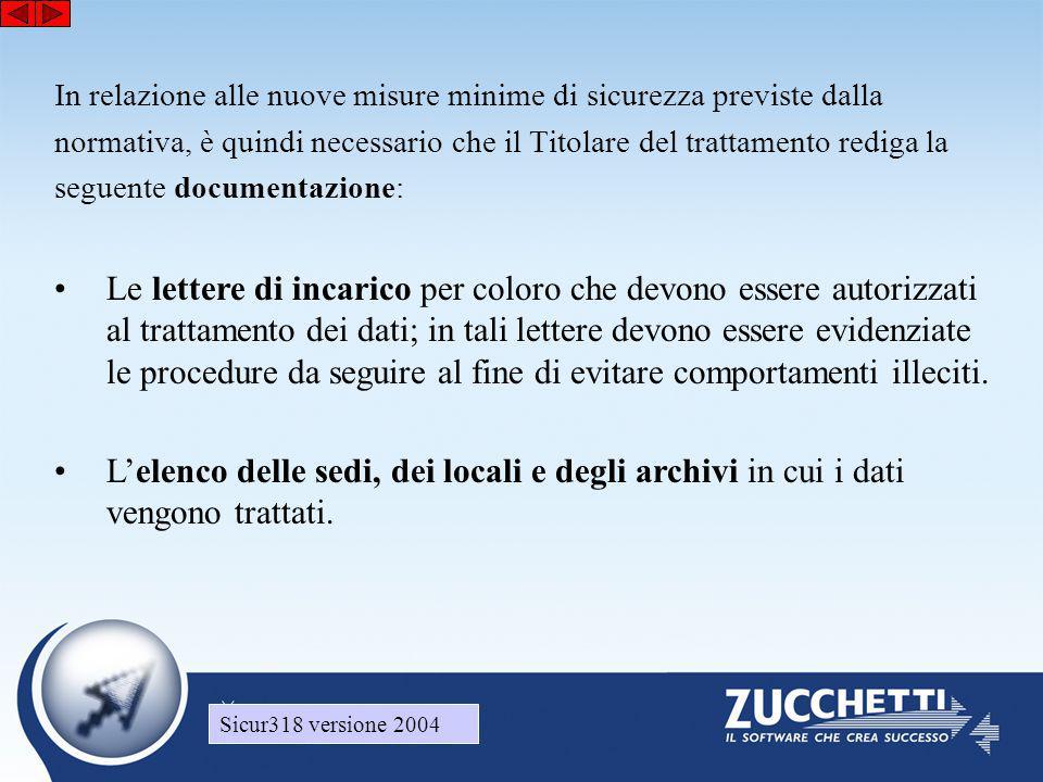 Sicur318 versione 2004 In relazione alle nuove misure minime di sicurezza previste dalla normativa, è quindi necessario che il Titolare del trattament
