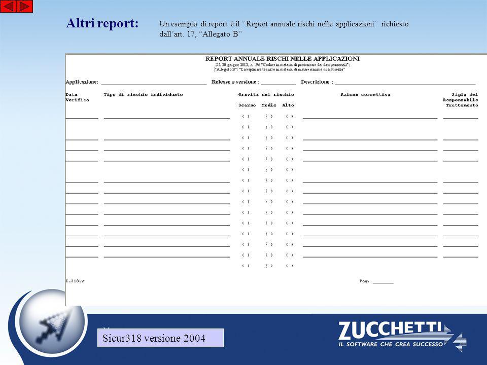 Sicur318 versione 2004 Altri report: Sicur318 versione 2004 Un esempio di report è il Report annuale rischi nelle applicazioni richiesto dall'art.